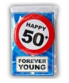 Happy birthday kaart met button 50 jaar