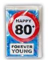 Happy birthday kaart met button 80 jaar