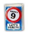 Happy birthday kaart met button 9 jaar