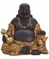 Happy boeddha beeld bruin goud 29 cm