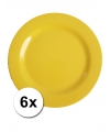 Hard plastic camping borden geel 6 stuks 25 cm
