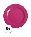 Hard plastic camping borden roze 6 stuks 20 cm