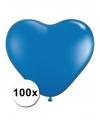 Hartjes ballonnen blauw 15 cm 100 stuks