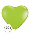 Hartjes ballonnen lime 15 cm 100 stuks