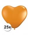 Hartjes ballonnen oranje 25 stuks