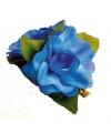 Hawaii haarclip blauwe roos