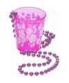 Hawaii ketting shotglas roze bloemen