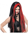 Heksenpruiken lang zwart rood
