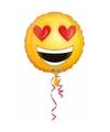 Helium ballon smiley met hartjes ogen 43 cm