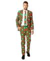 Heren kostuum met kerstbomen print