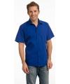 Heren overhemd blauw met korte mouw