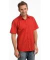 Heren overhemd rood met korte mouw