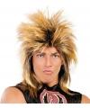 Heren rockster pruik bruin blond