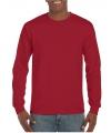 Heren t shirt lange mouw donker rood