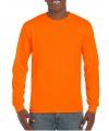 Heren t shirt lange mouw fluor oranje