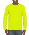 Heren t shirt lange mouw lichtgevend geel