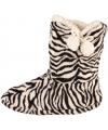 Hoge dames slof sokken met zebra print zwart wit