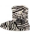 Hoge dames sloffen met zebra print zwart wit