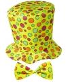 Hoge fun hoed geel met strik