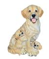 Honden beeldje golden retriever met puppies 35 cm