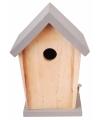 Hout vogelhuisje met grijs dakje 21 cm