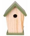 Hout vogelhuisje met groen dakje 21 cm