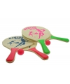 Houten beachball set roze