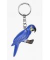 Houten blauwe papegaai sleutelhanger