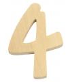 Houten cijfer 4 van 6 cm