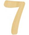 Houten cijfer 7 van 6 cm