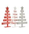 Houten kerstboom rood merry christmas 51 cm