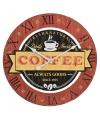 Houten klok koffie rood 40 cm