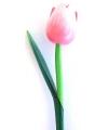 Houten tulp op steel licht roze 27 cm