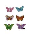 Houten vlinder magneet paars