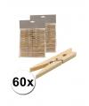 Houten wasknijpers 60 stuks