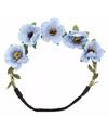 Ibiza haarband met blauwe bloemen