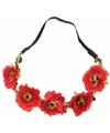 Ibiza haarband met rode bloemen