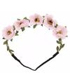 Ibiza haarband met roze bloemen