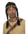 Indianen pruik met vlechten