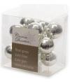 Insteek kerstballetjes zilver 2 cm 10 stuks