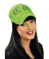 Kanten neon limegroene baseballcap voor dames