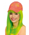 Kanten neon oranje baseballcap voor dames