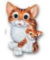 Kat met kitten beeldje 18 cm bruin