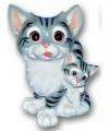 Kat met kitten beeldje 18 cm grijs