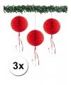 Kerst 3 papieren kerst decoratie ballen rood 30 cm
