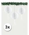 Kerst 3 papieren kerst decoratie ballen wit 30 cm