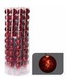 Kerst decoratie rode kerstballen slinger met led licht 200 cm