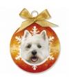Kerst dieren kerstbal westie 8 cm