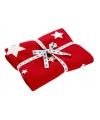 Kerst gebreid rood dekentje met sterren
