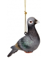 Kerst hangdecoratie grijze duif 12 cm